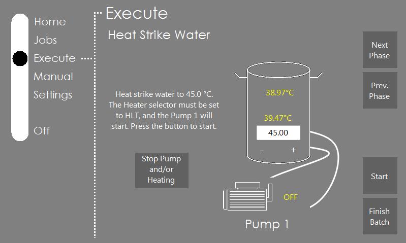L'interface affichée en mode automatique pour préchauffer l'eau de la cuve d'eau chaude.