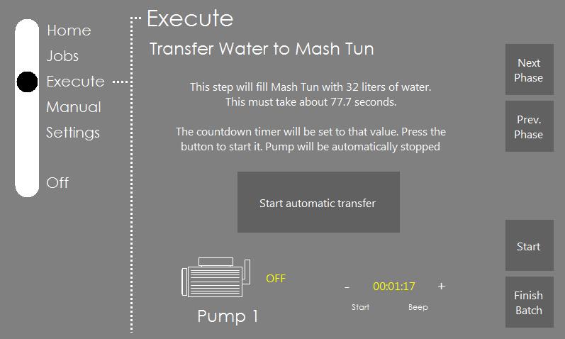 L'interface affichée en mode automatique pour transférer l'eau depuis la cuve d'eau chaude vers la cuve de brassage.